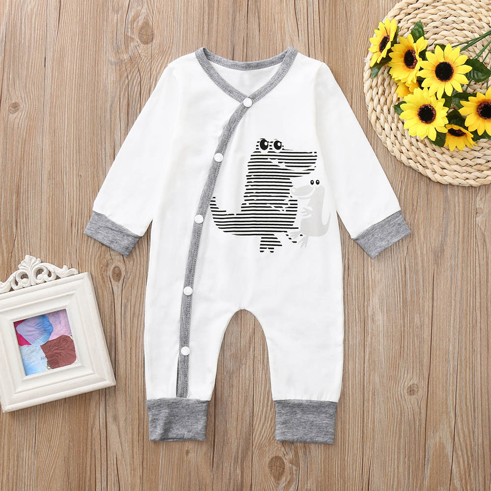 Stylish fashion design Newborn Baby Girls Boys Long Sleeves Crocodile Print   Romper   V ery comfortable Jumpsuit Kid Clothes