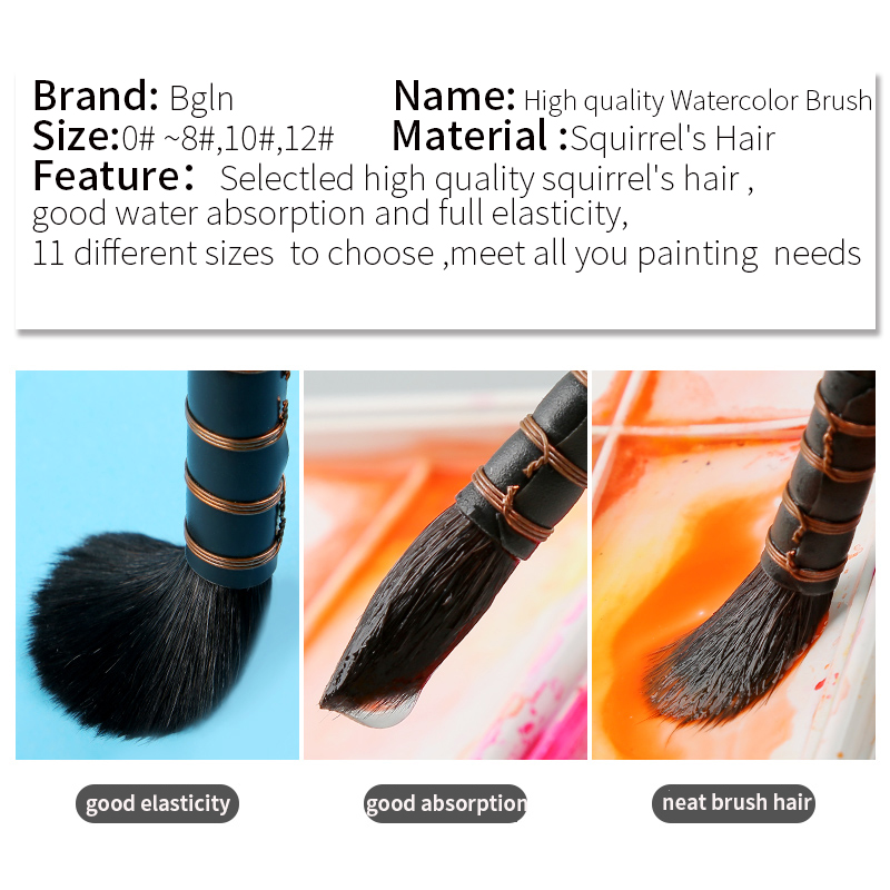 Office & School Supp. ...  ... 32740773024 ... 3 ... 1Piece Handmade Squirrel's Hair Artist Watercolor Paint Brush French Style Pointed Painting Brushes For Watercolor Art Supplies ...