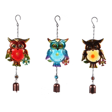 Creative Owl Wind Chimes Hanging Glass Accessorie Cute Model Decoration Figurine Metal Bell Miniature Craft Gift