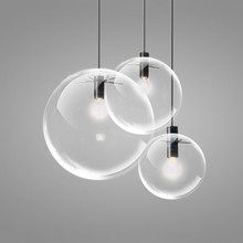 Modern Hanging Glass Ball Pendant Light Drop Clear Glass Bubble Foyer Kitchen Pendant Lamp Restaurant Bar Dining Room Pendant Li(China)