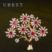New Fashion Big Tree Brooches Zircon Jewelry Natural Stone Brooch For Women Pins Wedding Party