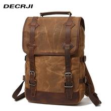 DECRJI Luxury Genuine Leather Backpack Men Waterproof Canvas Bagpack Travel Backpack Male Large Capacity Laptop School Bag 2020