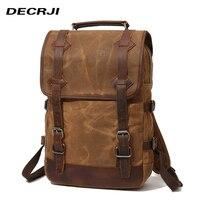 DECRJI Luxury Genuine Leather Backpack Men Waterproof Canvas Bagpack Travel Backpack Male Large Capacity Laptop School Bag 2018
