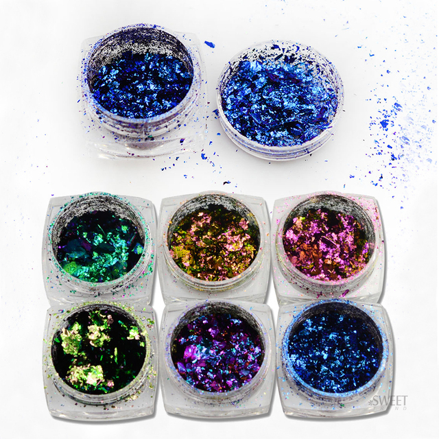 SWEET TREND 1Bottle Irregular Chameleon Effect Nail Glitter Shinning Powder Manicure Dust DIY Nail Art Decorations LABS01-06