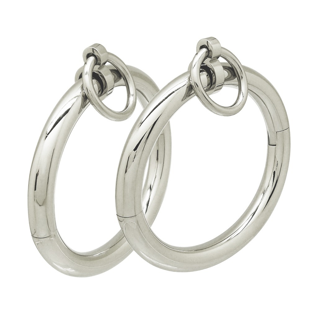 Polished shining stainless steel lockable wrist ankle cuffs bangle slave bracelet with removable O ring restraints set