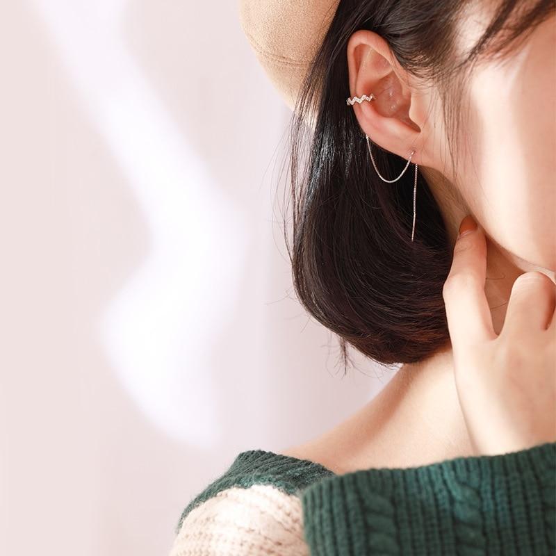 Wave Ear Wire Korea Long Zircon 925 Sterling Silver Temperament Personality Fashion Female Earring SEA006