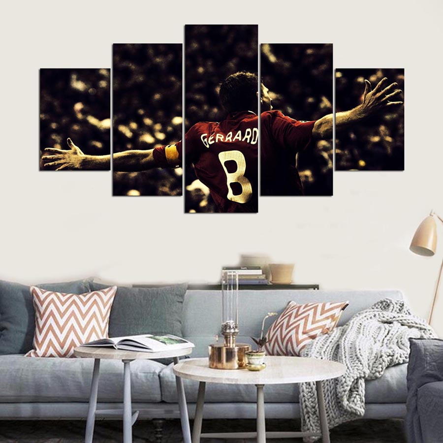 Wall Paintings For Sale Us 9 64 49 Off Aliexpress Buy Hot Sale 5 Panel Hd Liverpool Fc Print Canvas Art Unframed Wall Paintings For Living Room Sofa Background Home