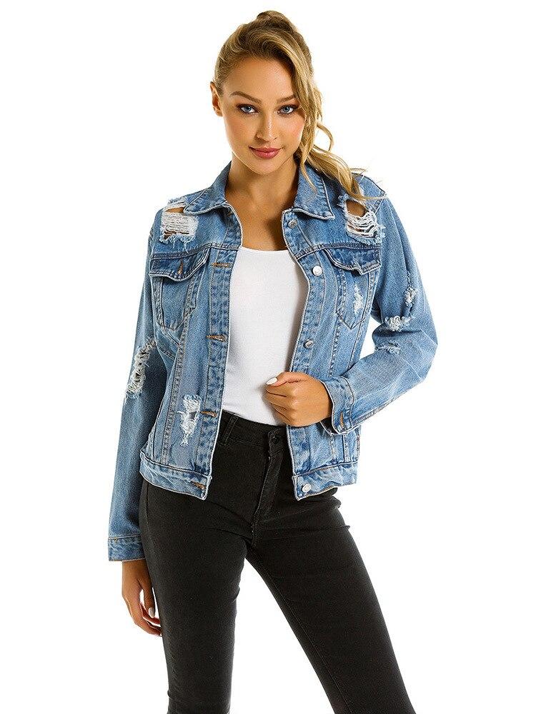 2019 Jean Jacket Female Hole Tide Loose Jean Jacket Ladies Jean Jacket S-L