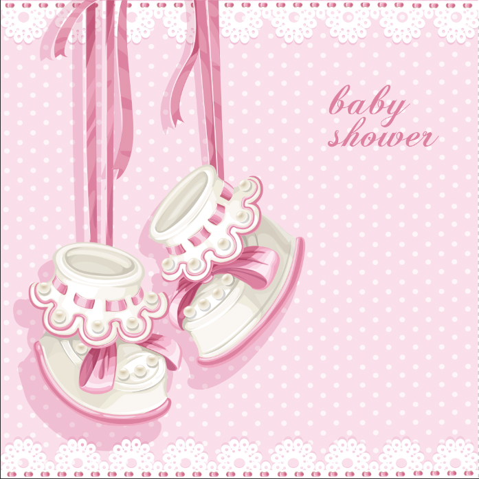 5X5Ft Light Pink Polka Dots Shoes It Is Girl Baby Shower -3395
