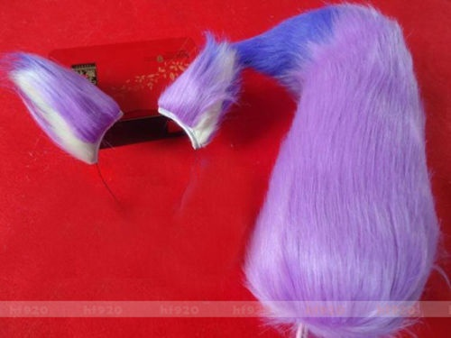 New Long fur Fox ear plush tail Purple hair band Ear For Cosplay Party 65cm