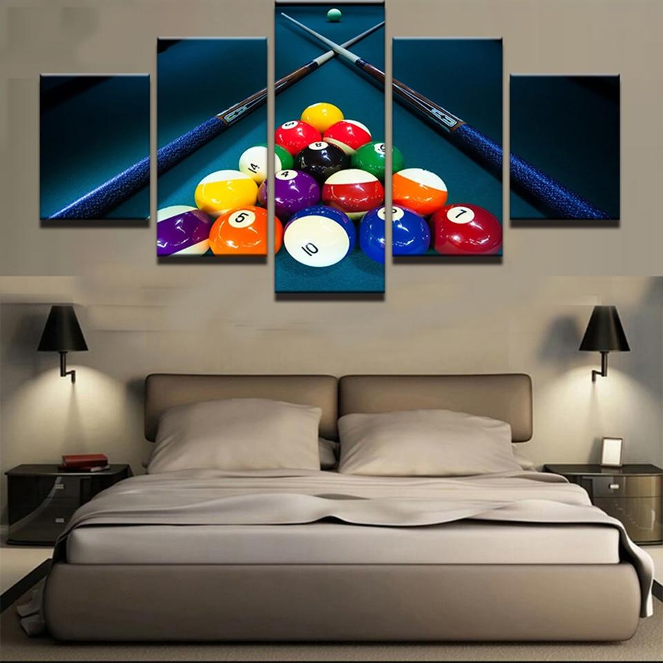 Wohnkultur Moderne Leinwand Wohnzimmer HD 5 Panel Sports Farbe Billard  Bilder Malerei Wandkunst Modulare Poster Gedruckt Rahmen