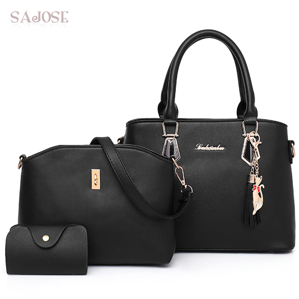 Women Composite Bag PU Leather Handbag Women Tassel 3 Sets Totes Bag Lady Crossbody Bags High Quality Shoulder Bag Drop shipping fashion pu composite bags handbags crossbody bag solid color versatile totes for women girl lady gl k871
