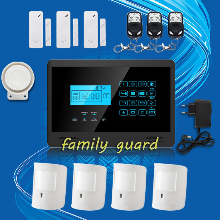 Free Shipping!Android IOS APP Autodial Wireless GSM SMS Home Security Burglar alarm system Hot Sale+4 Pet Immune PIRS+3 Door Gap new kerui home protection gsm pstn ios android app remote quad 4 bands wireless autodial house burglar door alarm secure system