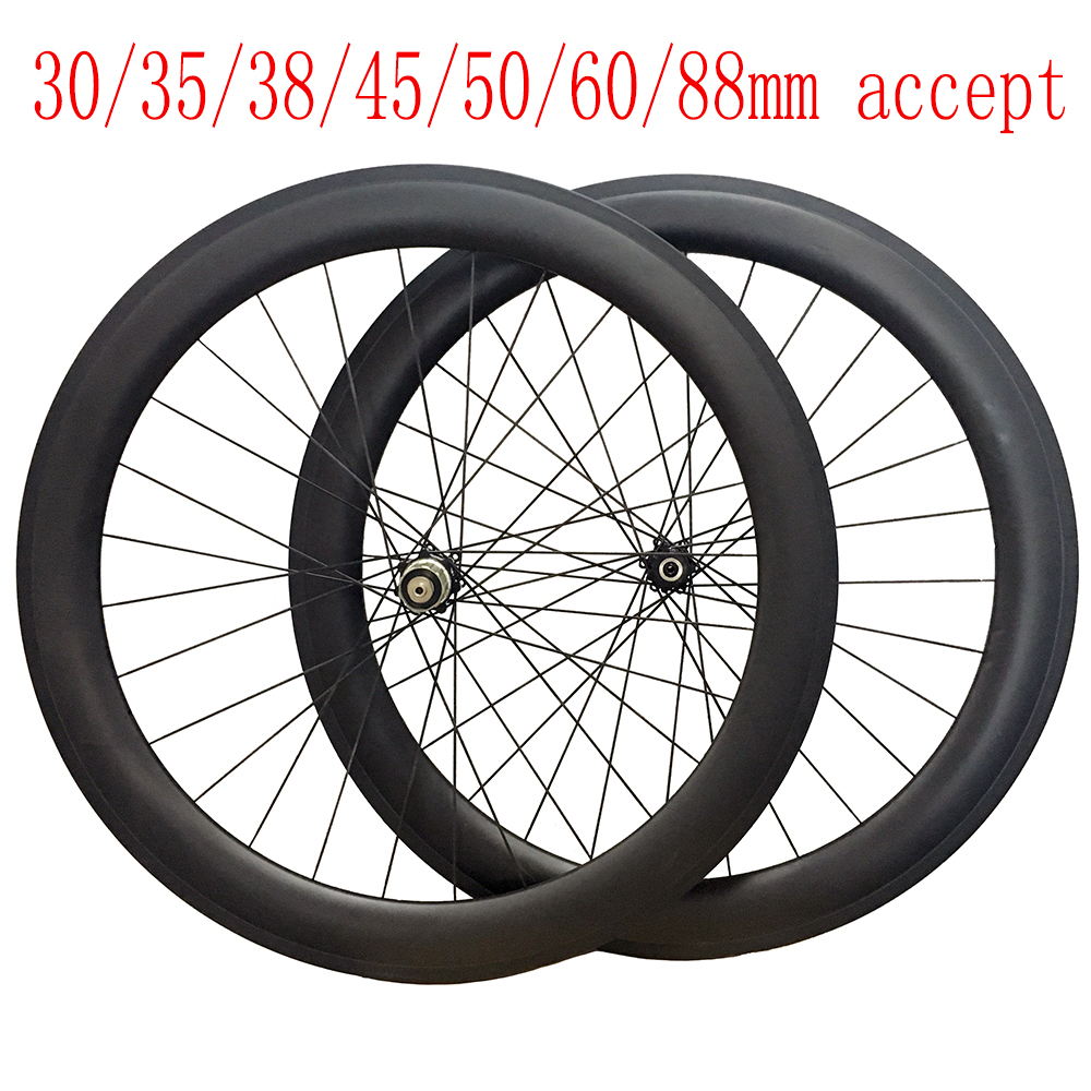 где купить Tubular Disc Brake Carbon Wheels30/35/38/45/50/55/60/75/88mm Deep Road Bike Wheels Novatec 411 412 Hub 25mm Wdith 700C дешево