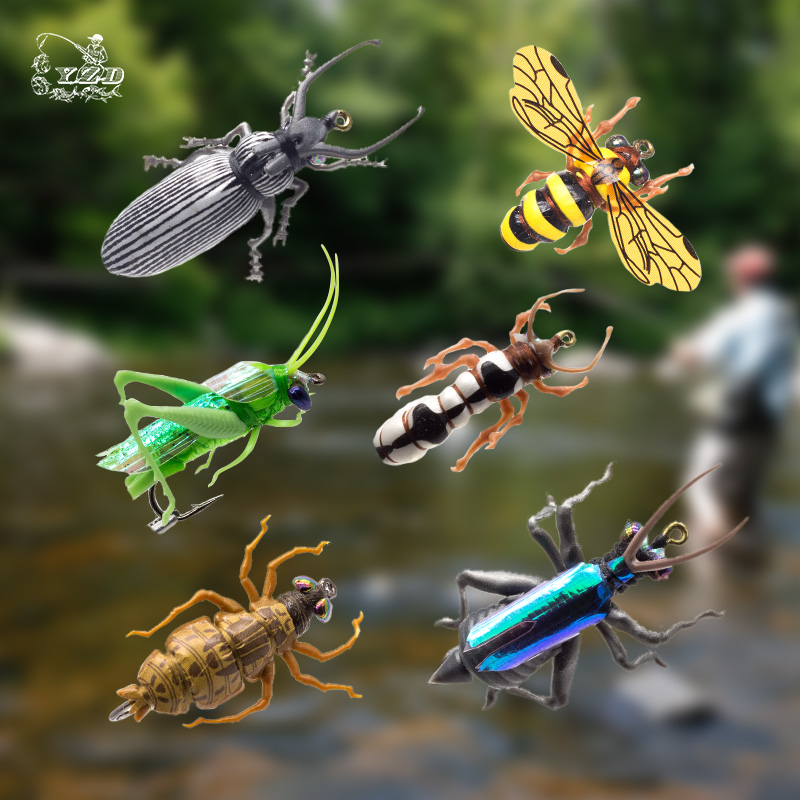 Fly Fishing Flies Set 6pcs humle bee Sprinkhopp chub beetle Dry Flies Realistic Insect Lure för PikeTrout Lure kit flyfishing