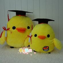 Free shipping 28cm one piece cute chicken graduation doctor plush stuffed anime toy doctor student graduation party gift
