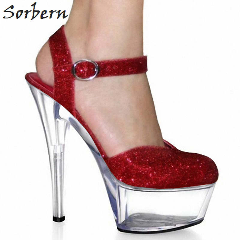 Sorbern Red Glitter Mary Janes Women Pumps Ankle Strap Round Toe Platform High Heels Sexy Shoes Ladies Dress Shoes Heels Women black women pumps mary janes style ladies extra high heels round toe think platform stilettos ankle straps new 2017 real photos