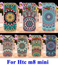 DIY Painted Hard Plastic &Soft TPU Silicon Cell Phone Cases For HTC One Mini 2 M8 mini m8mini 4.5 inch Cover Colors Flowers