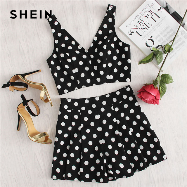 56b24dca5f3291 SHEIN Polka Dot Zip Back Crop Top And Shorts Set Women Deep V-neck  Sleeveless