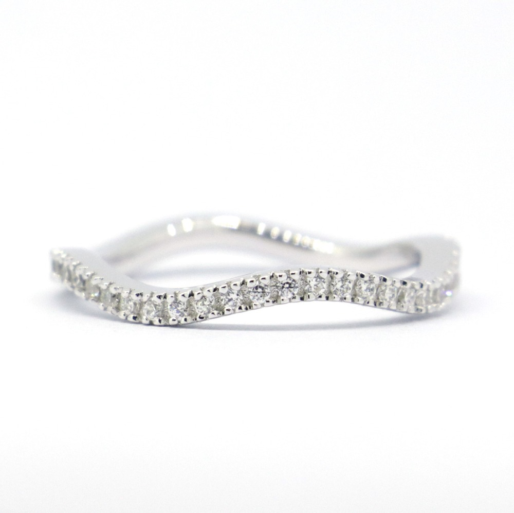 Wellmade CZ Solid 925 Sterling Silver Stackable Wave Ring