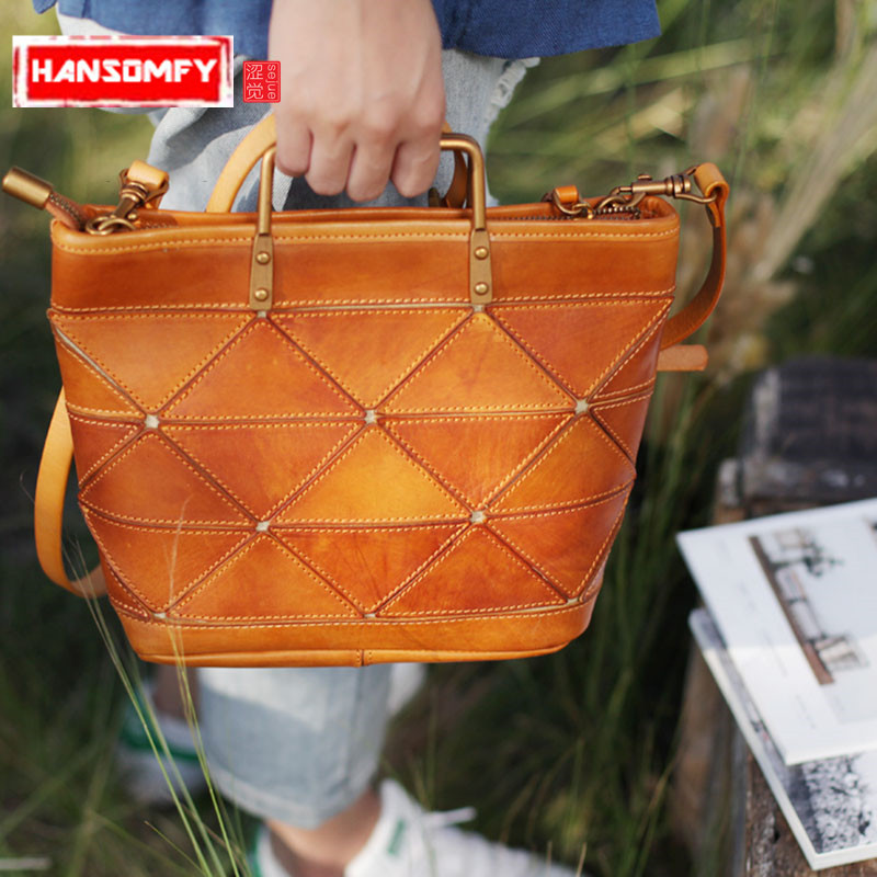 Retro literary original handmade leather Women handbag geometric stitching female Shoulder bag casual leather dumpling bag 42x37cm original handmade knitted handbag with flax rope retro shoulder bag genuine leather handle linen crochet bag a2940