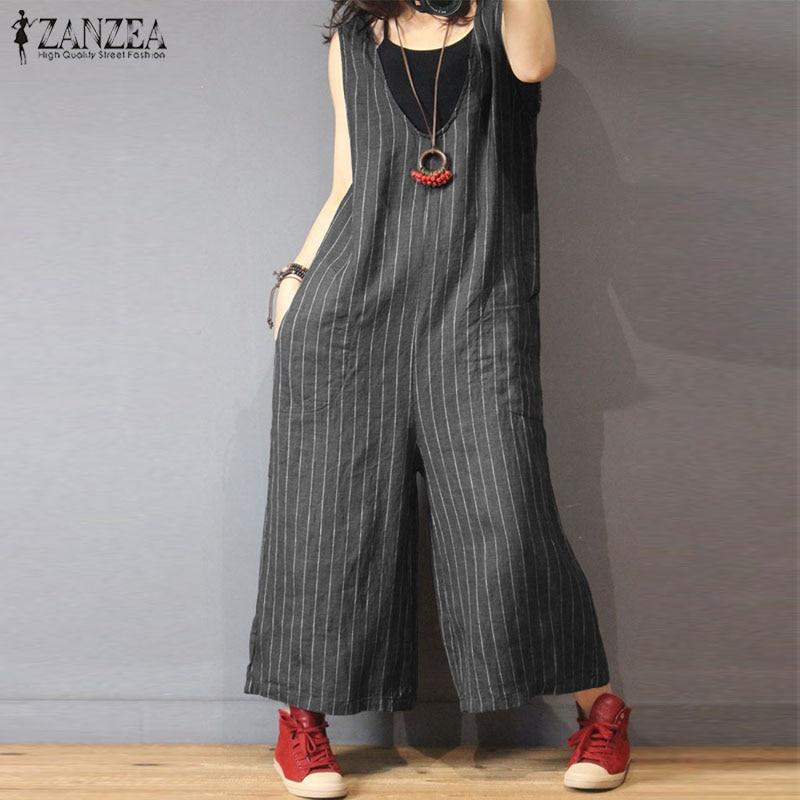2019 ZANZEA Women Summer Elegant V Neck Sleeveless Casual Striped   Jumpsuits   Loose Wide Leg Pants Romper Work Overalls Plus Size
