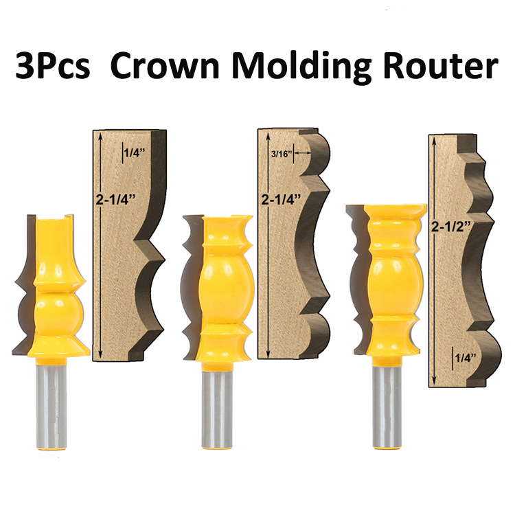 Woodworking cutter Bits Crown Molding Router Bit 1/2-Inch Shank wood engraving machine cutter 3pcs 1pc 1 2 7 8 woodworking cutter cnc engraving tools cutting the wood router bits 1 2 shk