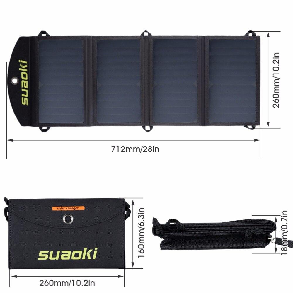 Suaoki 25W paneles solares portátiles plegables impermeables Dual 5 V/2.1A USB Solar Panel cargador banco de energía para la batería del teléfono - 2