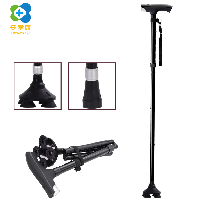 ANXIAOKANG Safe Reliable Old Man Crutches Folding Telescopic Four legged Cane Aluminum Alloy T Handle Walking