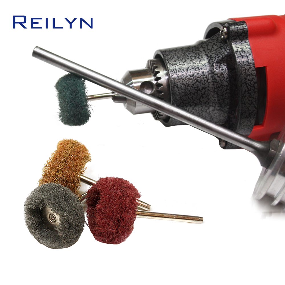 Scouring Sponge Polishing Bits 3mm Scouring Cloth Polisher Surface Peeling Rust Removing For Grinder Dremel Rotary Tools
