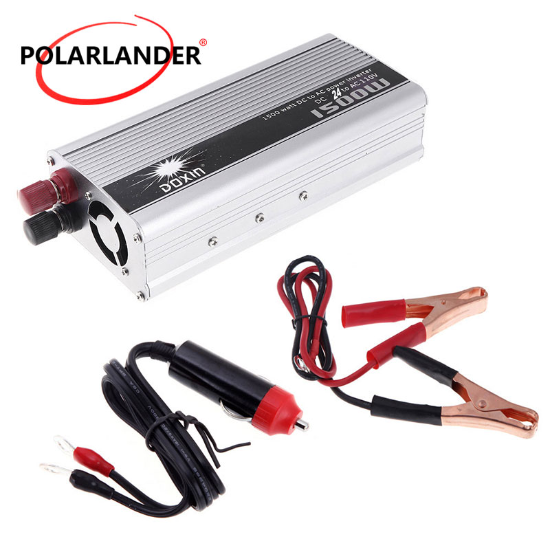 Portable Vehicle Inverter 1500W DC 24V to AC 110V Voltage Transformer USB Adapter Charger Car Power voltage converter