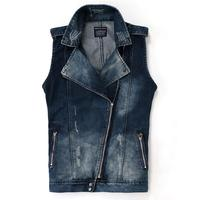 Mens Denim Vest With Zipper Sleeveless Jean Jacket Men Slim Cowboy Vest Motorcycle Harley Turn Down