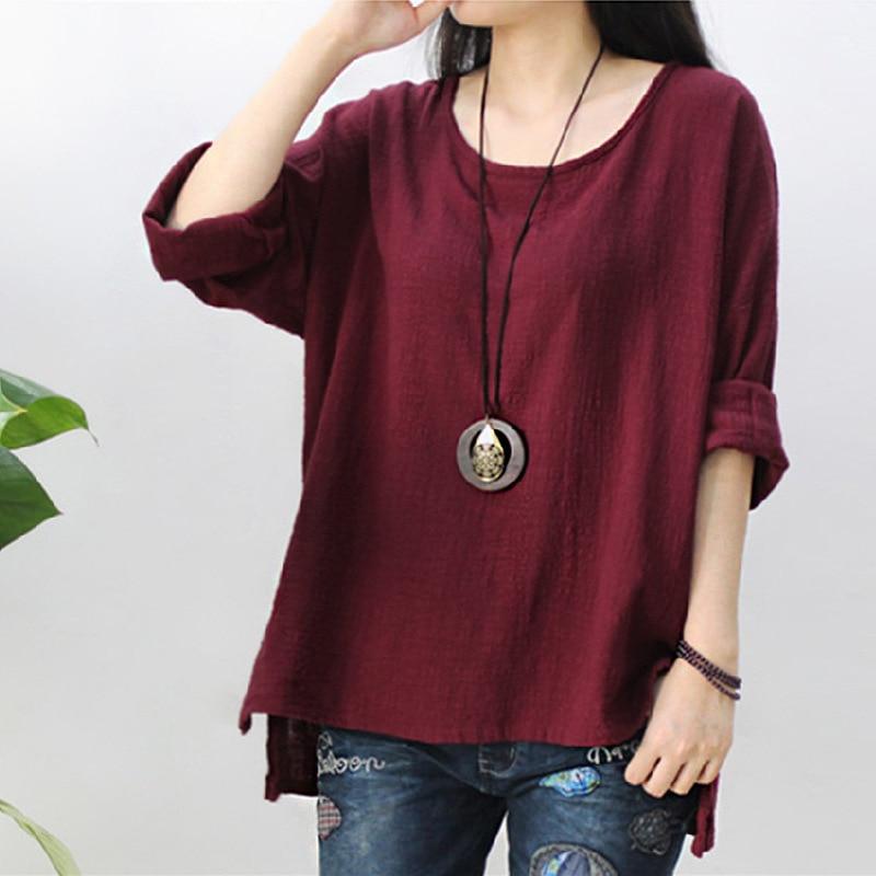 2018 Dames Zomer effen kleur katoenen shirt O hals los Casual kleding - Dameskleding