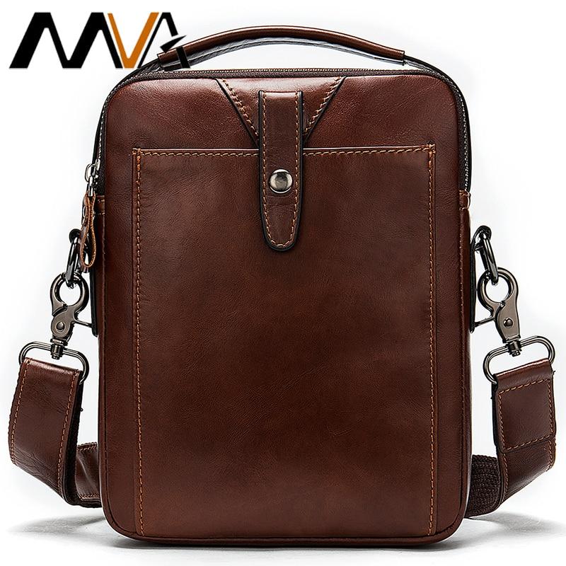 MVA Men's Bags Male Handbags Genuine Leather Crossbody Shoulder Bags for Men Vintage Flap Small Messenger for Ipad Phone 716