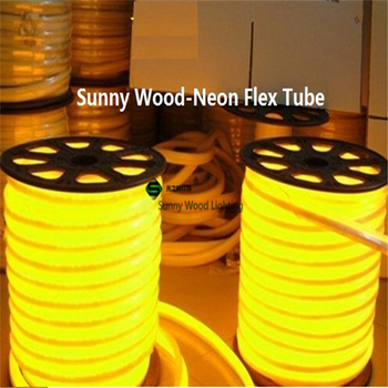 10 meters led neon flex tube ,220V input led sign board tube ,Flexible tube Yellow color with power cord and clips LNF-2514-220V
