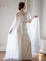 Women Bolero Long Wraps Elegant White Sheer Summer Formal Evening Dresses Cape Chiffon Cheap Cloaks Bridal Wedding Party Shawls