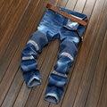 Nueva Llegada de la Alta Calidad azul Negro de La Motocicleta Denim jeans Motorista Hombres Flacos 2016 pantalones vaqueros elásticos Delgados hiphop Lavado