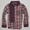 New Baby Lattice Shirt Boys Cotton Color matching grid long sleeve shirts Children tops wholesale