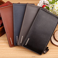 Fashion Design Leather Men Wallets Brand Long Thin Purse Big Volume Clutch Card Wallet Men Double Zipper litchi stria men Wallet