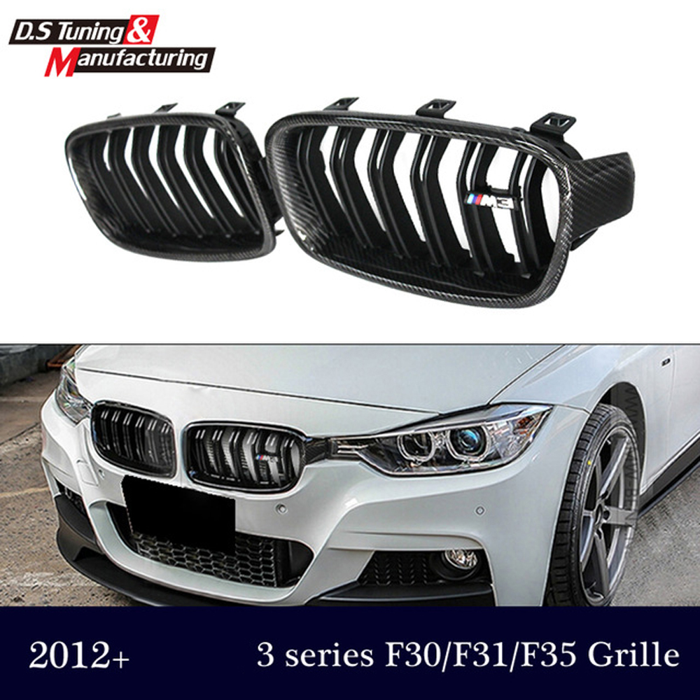 Genuine carbon fiber 3 series f30 f31 grill dual slat gloss / matte black grille for bmw 3 series 318i 320i 328i  330i 335i 3 series carbon front bumper racing grill grills for bmw f30 f31 standard sport 12 16 320i 325i 330i 340i non m3 style car cover