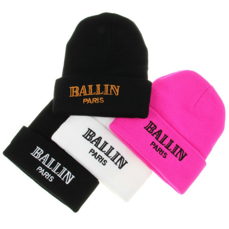 Winter Fashion Unisex Letter BALLIN Embroidery Knitted Beanies Women Cap Hip Hop Skullies Ski Beanies