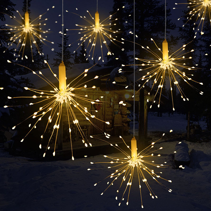 150/120/100LEDs Hanging Starburst Fairy Light Battery LED Fireworks Fairy Led String Lights Remote Control Holiday Night Light