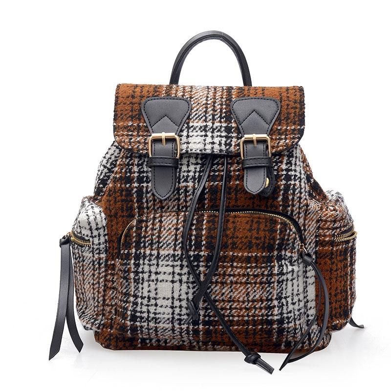 women backpack Woolen plaid rucksack vintage drawstring school casual daily back pack girls