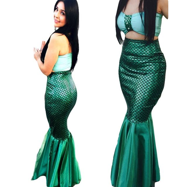 ccd5298861 Green Mermaid Skirt Women Sexy High Waist Bandage Long Maxi Skirts For Women  Fashion Ruffle Skirt