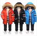 Invierno warmBaby niños Abajo y Abrigos Esquimales Niños pato blanco dowm Prendas de Vestir Exteriores Larga Chaqueta y Abrigo para niños ropa de Niños B015