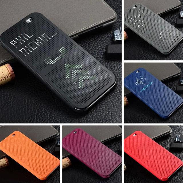 Smart Flip Dot View Cover Case For HTC One M8 For HTC E8 Phone Case With Stylish Matrix Design Silicone Intelligent Phone Case