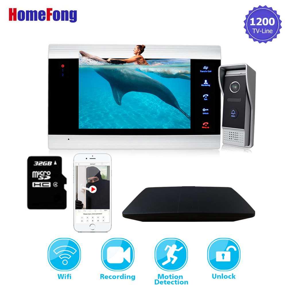 Homefong 7 Inch Wireless Video Door Phone IP Intercom System Wifi Doorbell Camera Smart Phone 1200TVL Record Motion Alarm Unlock