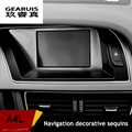 Stainless steel Car center console navigation decorative frame cover trim warning light panel interior 3D sticker for Audi A4