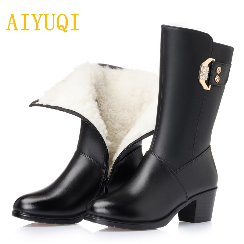 2018 new warm womens winter boots genuine leather wool boots size 41 42 43 suede snow boots ladies shoes motorcycle booties