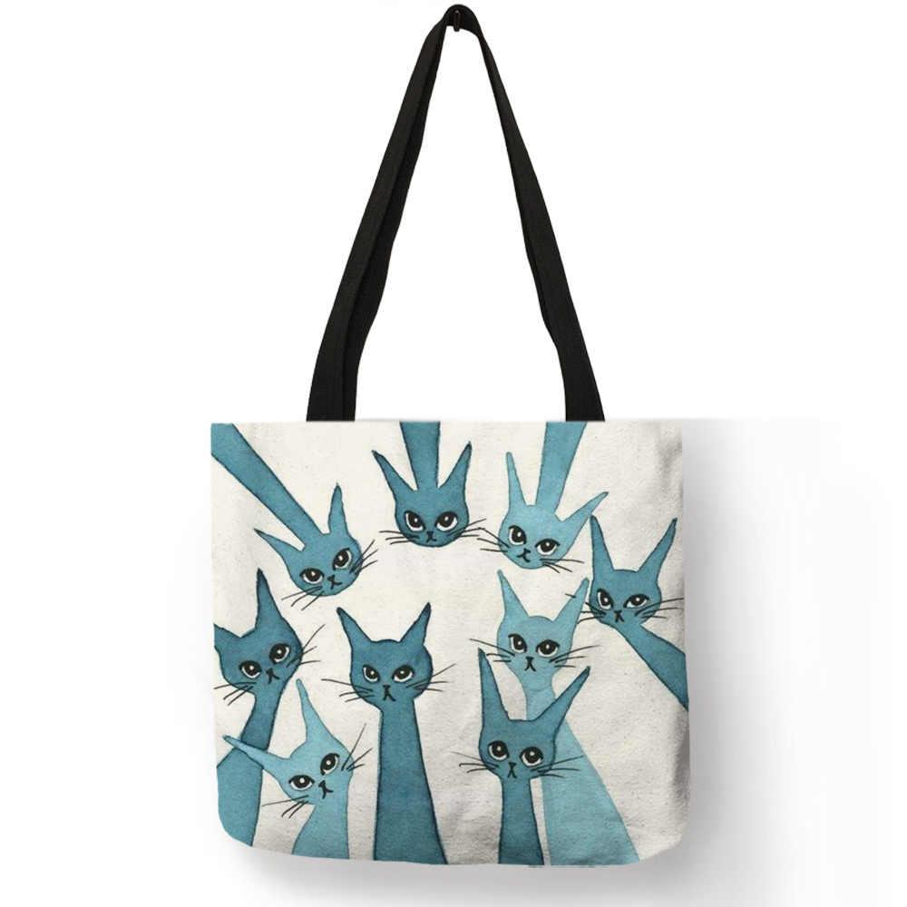 Сумка женская, повседневная, портативная, модная, цветная, с рисунком милого кота, котенка, дизайн, сумка на плечо, Eco Linen, Ежедневные Сумки